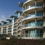 Curved glass balustrades appartment building