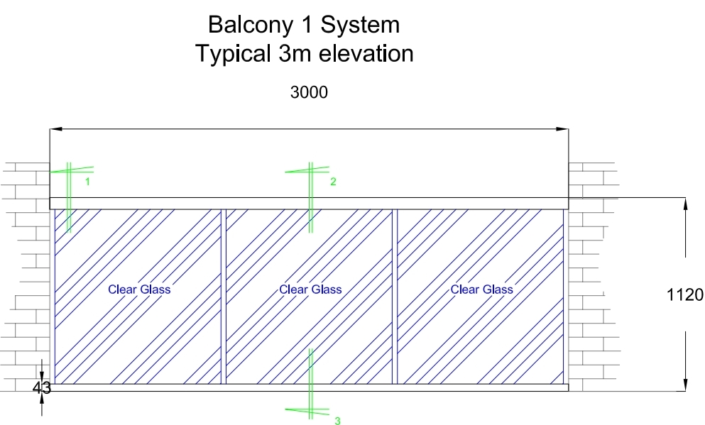typical 3 m elevation of glass balustrade