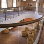 the lobby through the glass balustrade
