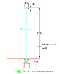semi frameless glass balustrades section