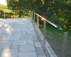 glass balustrade during installation and assembly