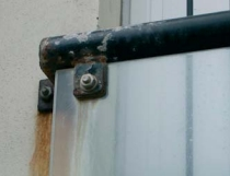 corrosion on a steel handrail