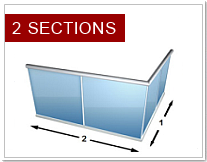 2 sections glass bannisters