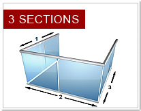 3 sections glass bannisters