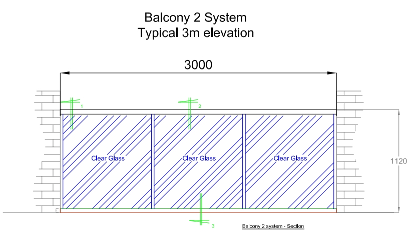 Railing System typical 3 m elevation