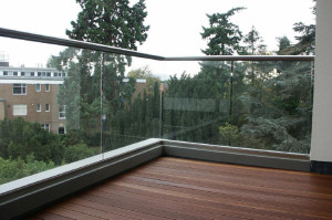 glass balcony corner