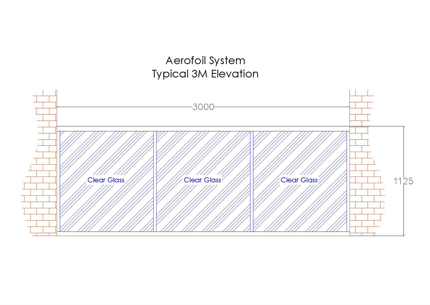 Aerofoil Railing System typical 3 m elevation